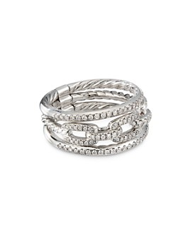 David Yurman - 18K White Gold Stax Three-Row Chain Link Ring with Diamonds