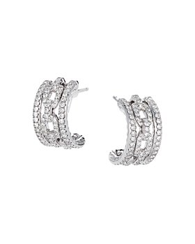 David Yurman - 18K White Gold Stax Huggie Hoop Earrings with Diamonds