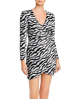 Bardot - Sequined Zebra-Stripe Dress