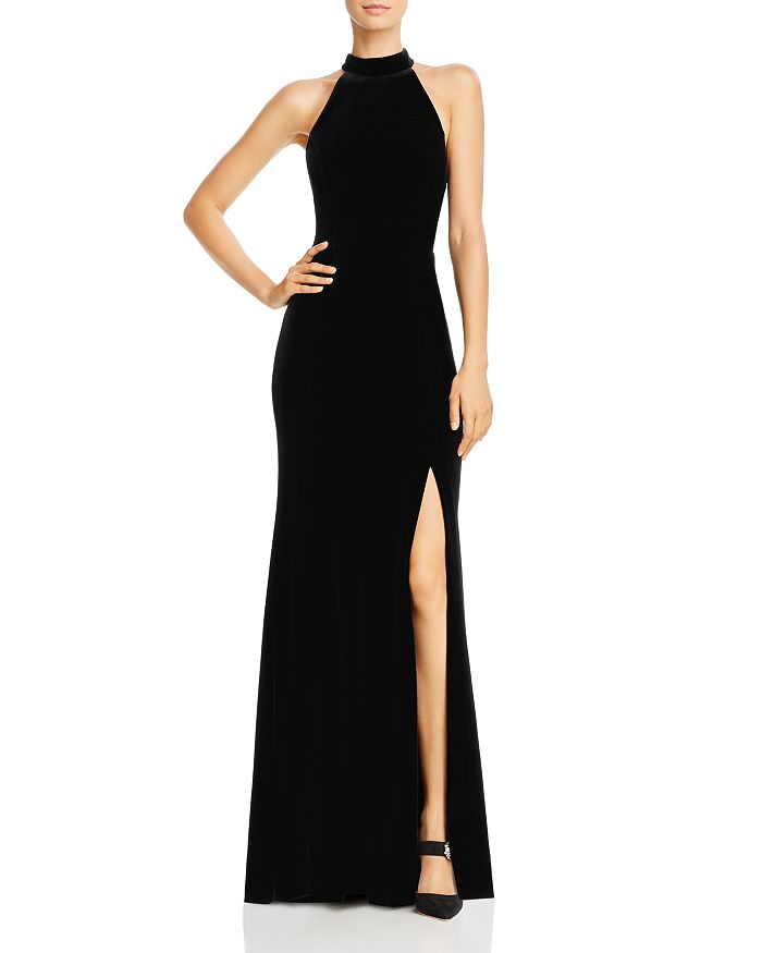 AQUA - Velvet Halter Gown - 100% Exclusive