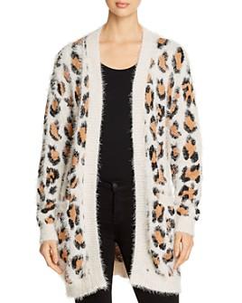 Alison Andrews - Fuzzy Leopard-Pattern Open Cardigan
