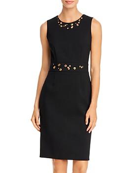 PAULE KA - Simulated Gem-Embellished Sleeveless Dress