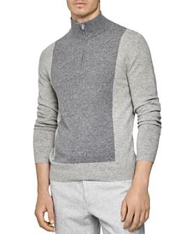 REISS - Boardman Color-Block Half-Zip Sweater