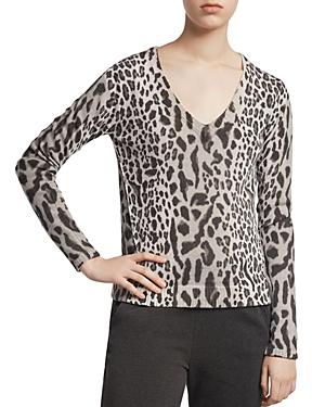 Atm Anthony Thomas Melillo Sweaters MIXED LEOPARD PRINT V-NECK SWEATER