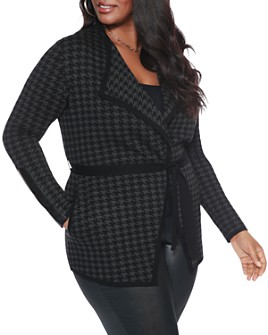 Belldini Plus - Houndstooth Belted Cardigan