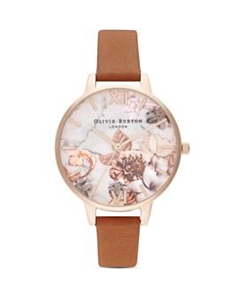 Olivia Burton - Marble Florals Leather Strap Watch, 34mm