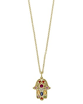 "Bloomingdale's - Rainbow Gemstone & Diamond Hamsa Pendant Necklace in 14K Yellow Gold, 18"" - 100% Exclusive"