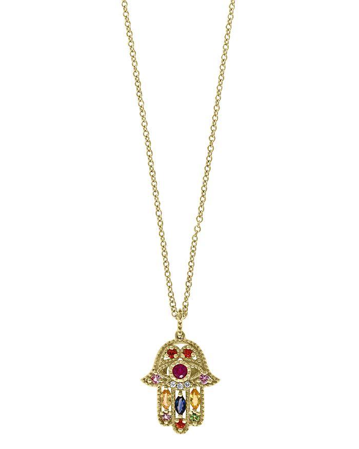 "Bloomingdale's - Rainbow Gemstone & Diamond Hamsa Pendant Necklace in 14K Yellow Gold, 18"" - 100% Exclusive"
