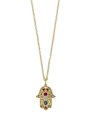 Rainbow Gemstone & Diamond Hamsa Pendant Necklace in 14K Yellow Gold