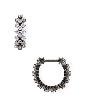 Nadri Aura Lattice Huggie Hoop Earrings-Jewelry & Accessories