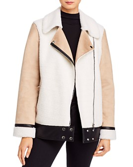 AQUA - Faux Shearling Moto Jacket - 100% Exclusive