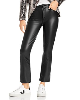 MOTHER - The Insider Faux-Leather Ankle Flare Jeans in Faux Show