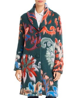 Tory Burch - Merino-Wool Floral-Intarsia Sweater Coat