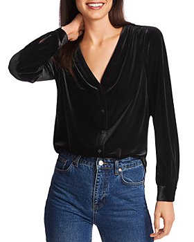 1.STATE - Velvet Button-Front Top