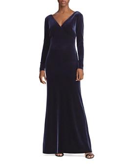 Ralph Lauren - Stretch Velvet Long Sleeve Gown