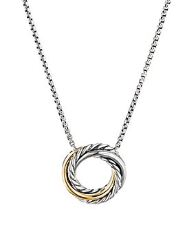 David Yurman - Sterling Silver & 18K Yellow Gold Crossover Mini Pendant Necklace, 17""