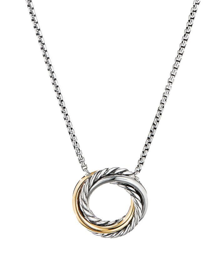"""David Yurman Sterling Silver & 18K Yellow Gold Crossover Mini Pendant Necklace, 17""""  