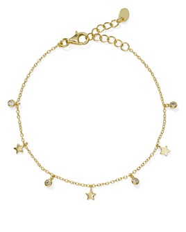 AQUA - Tiny Dangle Star Bracelet in Sterling Silver or Gold-Plated Sterling Silver - 100% Exclusive