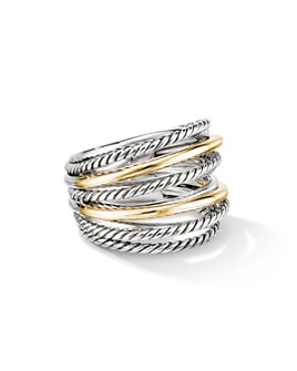 David Yurman - Sterling Silver & 18K Yellow Gold Crossover Wide Ring