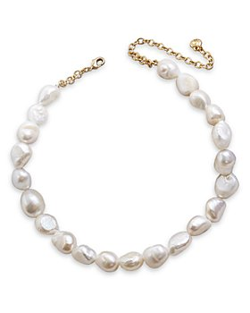 BAUBLEBAR - Lacey Dyed Natural Pearl Statement Necklace, 15""
