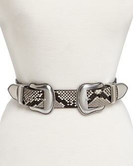 B-low the Belt - Rouge Double-Buckle Snake Embossed Leather Belt