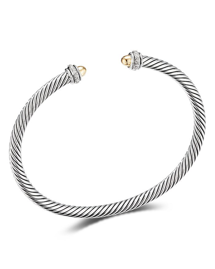 David Yurman - Sterling Silver & 18K Yellow Gold Cable Classic Bracelet with Diamonds