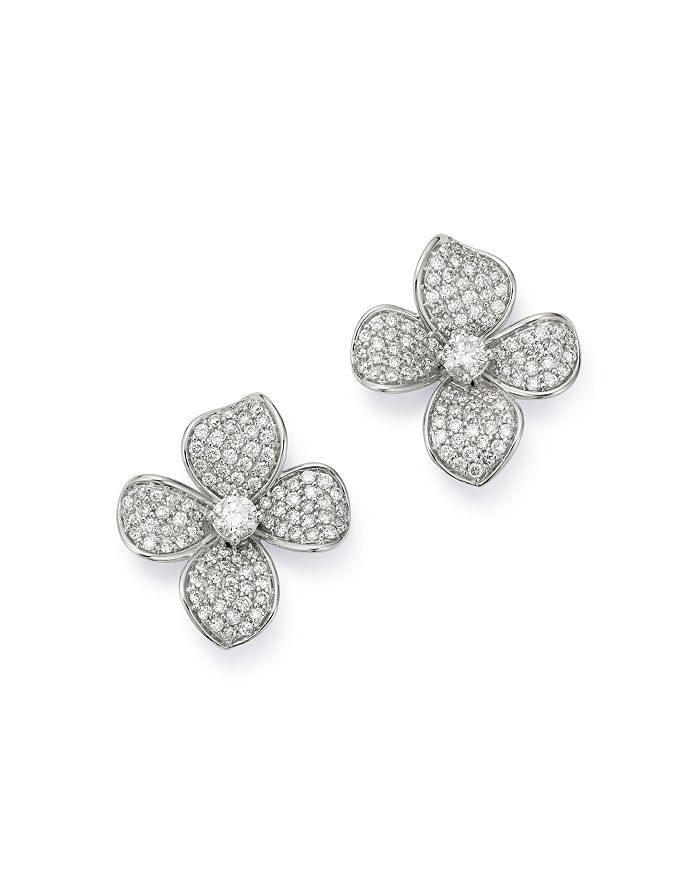 Bloomingdale's - Diamond Statement Flower Earrings in 14K White Gold, 2.0 ct. t.w. - 100% Exclusive