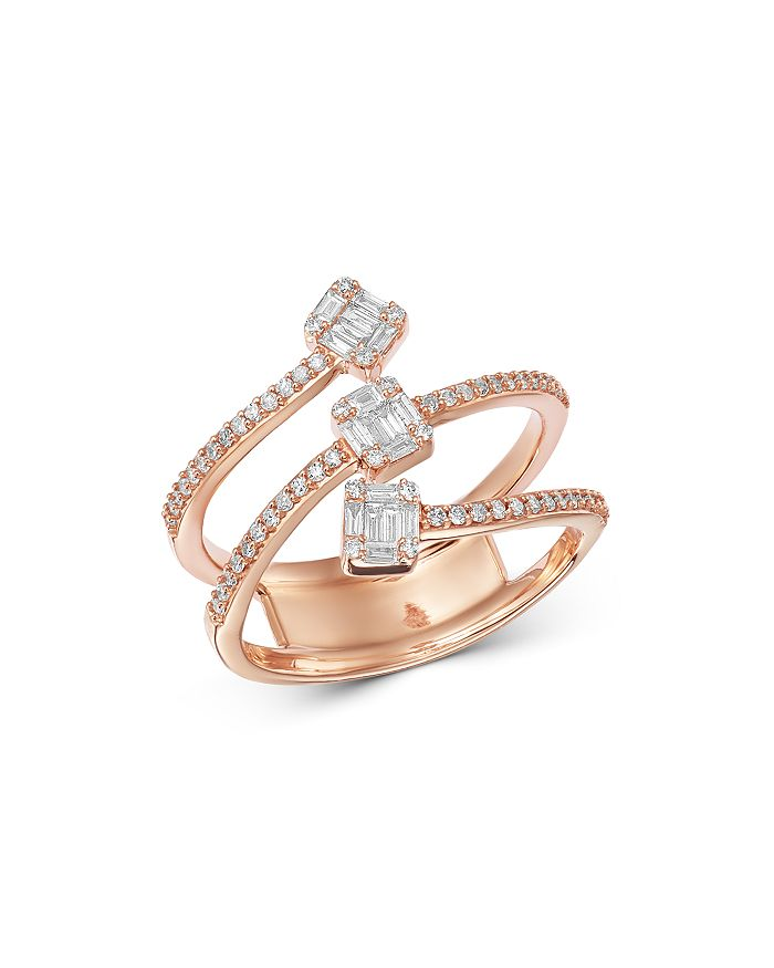 Bloomingdale's - Diamond Mosaic Multi-Row Ring in 14K Rose Gold, 0.50 ct. t.w. - 100% Exclusive