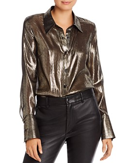 MILLY - Metallic Chiffon Button Down Shirt