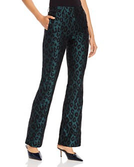 Anine Bing - Cindy Emerald Leopard Jacquard Flared Pants