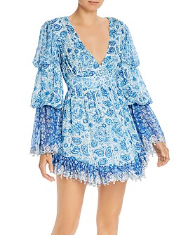 Hemant and Nandita - Suho Plunging Paisley Mini Dress