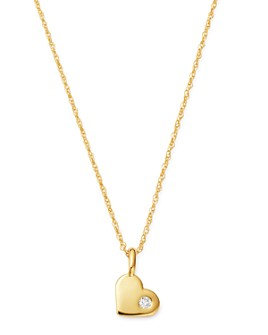 Bloomingdale's - Diamond Heart Pendant Necklace in 14K Yellow Gold, 0.03 ct. t.w. - 100% Exclusive