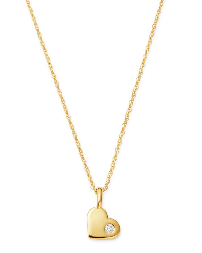 Bloomingdale's Diamond Heart Pendant Necklace in 14K Yellow Gold, 0.03 ct. t.w. - 100% Exclusive  | Bloomingdale's