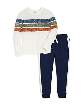 Splendid - Boys' Striped Tee & Rib-Trim Jogger Pants Set - Little Kid