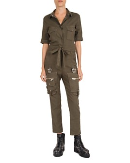 The Kooples - Cropped Belted Utility Jumpsuit