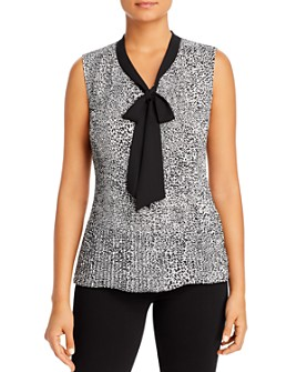 Donna Karan - Pleated Tie-Neck Blouse