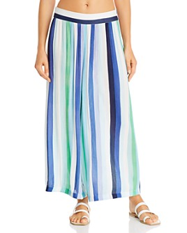Echo - Resort Striped Beach Pants Swim Cover-Up