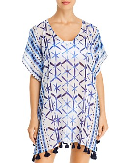 Echo - Shibori Tassel Caftan Swim Cover-Up