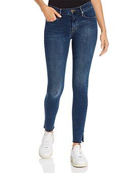 FRAME - Le Skinny De Jeanne Slit Rivet Raw-Edge Jeans in Fayette