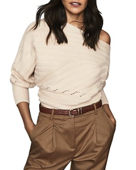 REISS - Coco Off-the-Shoulder Ribbed Sweater