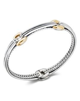 David Yurman - Sterling Silver & 18K Yellow Gold Thoroughbred Double Link Bracelet