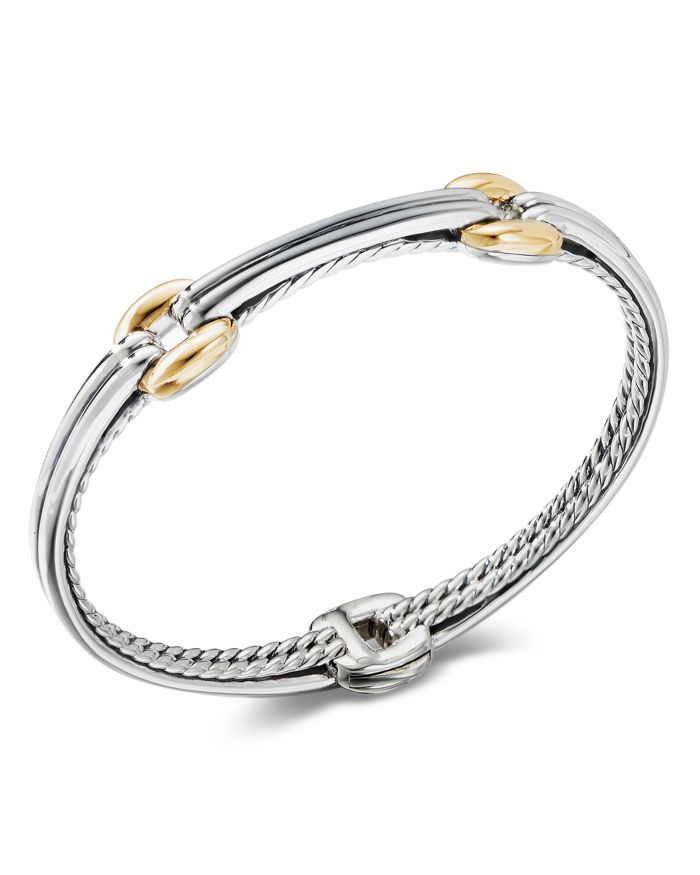David Yurman Sterling Silver & 18K Yellow Gold Thoroughbred Double Link Bracelet  | Bloomingdale's