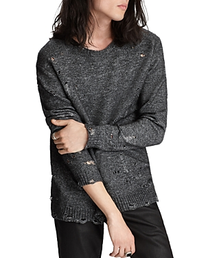 John Varvatos Sweaters EASY FIT DISTRESSED CREWNECK SWEATER
