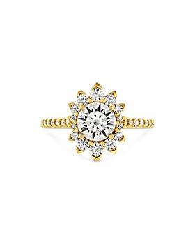 Hayley Paige for Hearts on Fire - 18K Yellow Gold Behati Say It Your Way Oval Engagement Ring with Diamond & Pink Sapphire