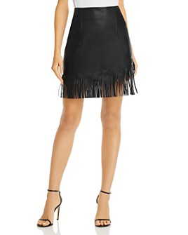 BAGATELLE.NYC - Fringed Faux Leather Skirt
