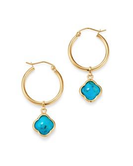 Bloomingdale's - Turquoise Clover Hoop Earrings in 14K Yellow Gold - 100% Exclusive