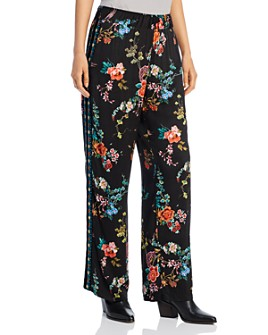 Johnny Was - Floral Velvet-Trim Pants