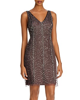Adrianna Papell - Beaded V-Neck Cocktail Dress