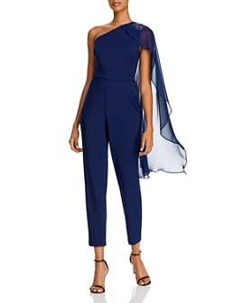 Adrianna Papell - One-Shoulder Cape Jumpsuit