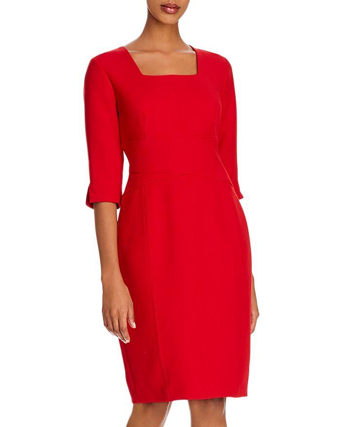 Donna Karan Square-neck Sheath Dress In Lacquer Red